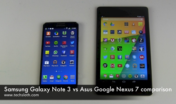 Galaxy Note 3 vs Google Nexus 7 Vergleich
